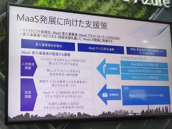 【写真:マイクロソフトのアピールするMaaS発展に向けた支援策】